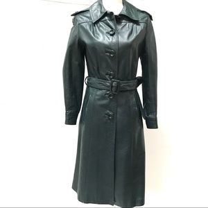 Forest Green Vintage Leather Trench Coat